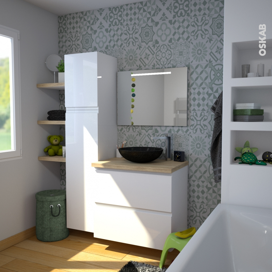 Colonne de salle de bains 1 porte miroir ipoma blanc for Poignee porte meuble salle de bain