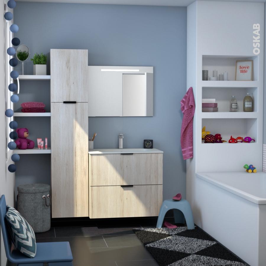 Ikoro ch ne clair colonne salle de bains n 1162 c t d cor for Colonne de salle de bain 1 porte miroir