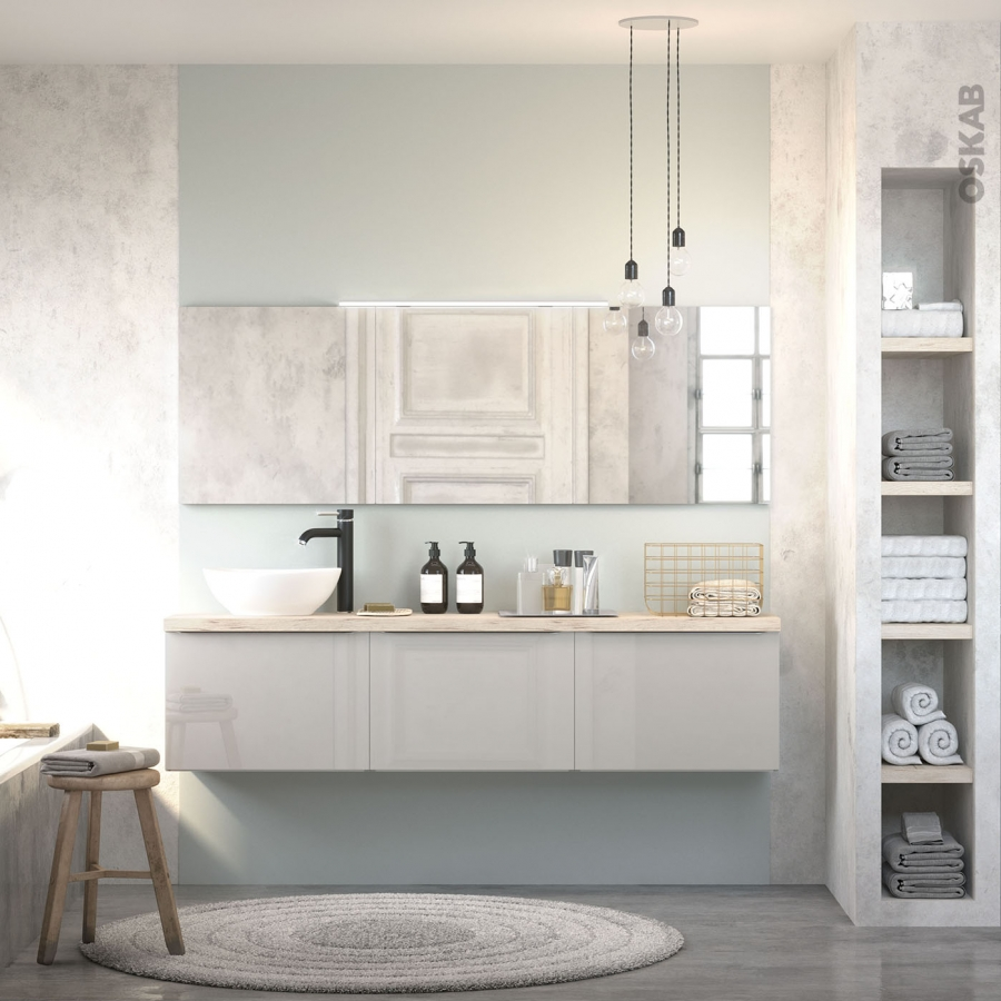 colonne de salle de bains 2 portes ivia gris c t s d cors. Black Bedroom Furniture Sets. Home Design Ideas