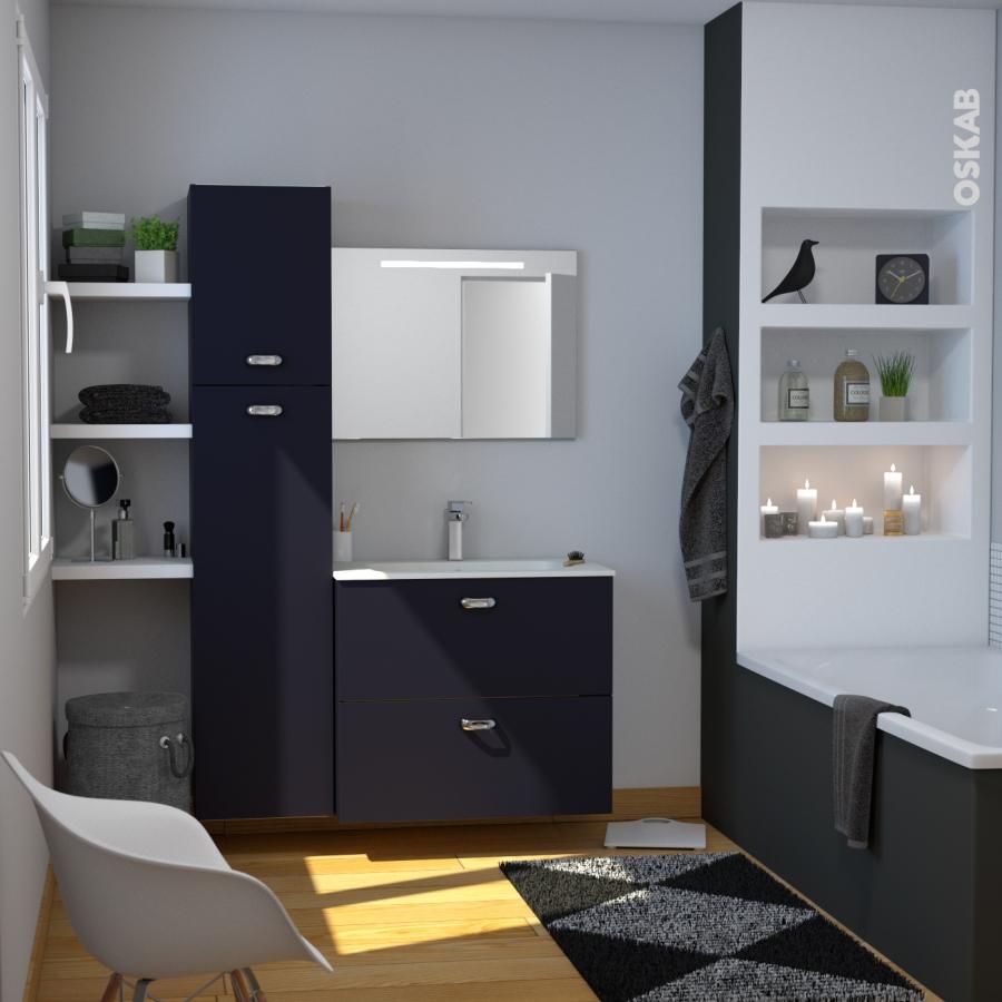 Armoire de salle de bains rangement haut ginko noir 1 for Armoire salle de bain noir