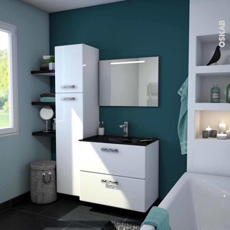 armoire de salle de bains rangement haut iris blanc 1. Black Bedroom Furniture Sets. Home Design Ideas