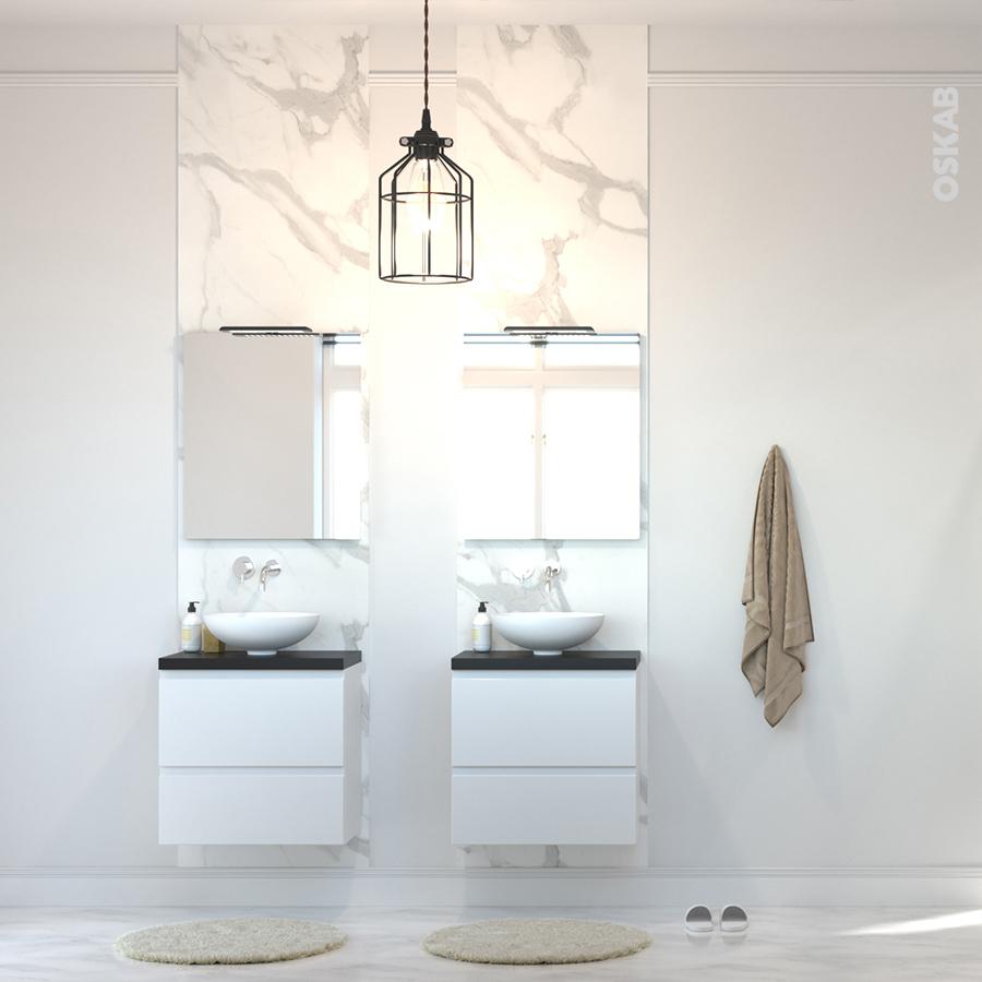 Relooker Une Table De Toilette En Marbre meuble de salle de bains sous vasque ipoma blanc brillant, 2 tiroirs, côtés  décors, l60 x h57 x p40 cm
