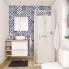 #Meuble de salle de bains - Sous vasque - IPOMA Blanc brillant - 2 tiroirs - Côtés décors - L80 x H70 x P40 cm