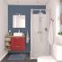 #Armoire de toilette - Rangement haut - STECIA Rouge - 1 porte - Côtés blancs - L60 x H70 x P17 cm