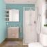 #Armoire de toilette - Rangement haut - KERIA Moka - 1 porte - Côtés blancs - L60 x H70 x P17 cm