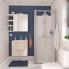#Meuble de salle de bains - Sous vasque - IKORO Chêne clair - 1 porte - Côtés décors - L60 x H57 x P40 cm