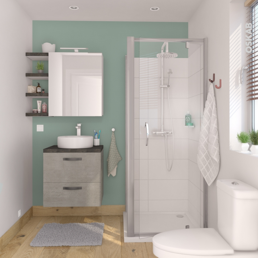Meuble de salle de bains sous vasque fakto b ton 2 portes for Petit meuble salle de bain 2 portes