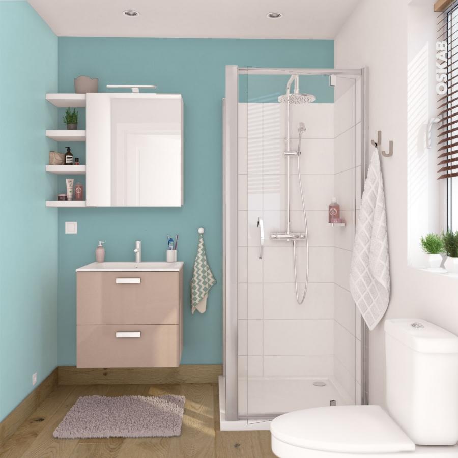 Meuble de salle de bains rangement bas keria moka 1 porte for Meuble bas salle de bain 3 portes