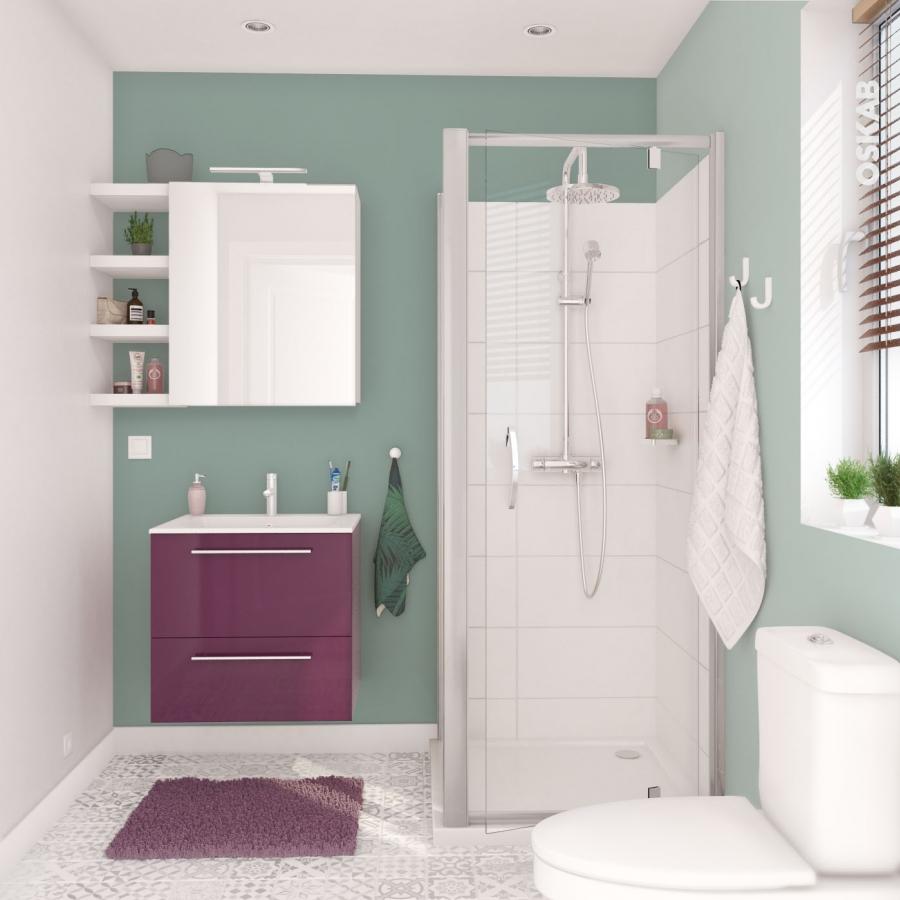 Meuble de salle de bains sous vasque double keria - Meuble de salle de bain aubergine ...