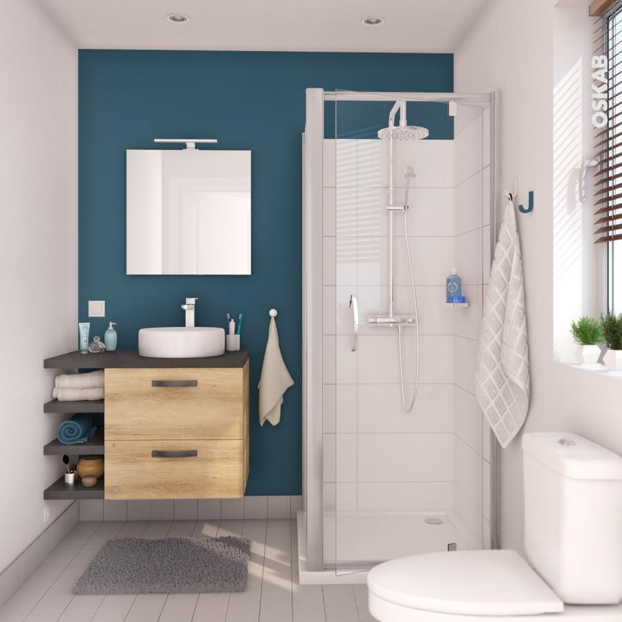 colonne de salle de bains 2 portes hosta ch ne naturel. Black Bedroom Furniture Sets. Home Design Ideas