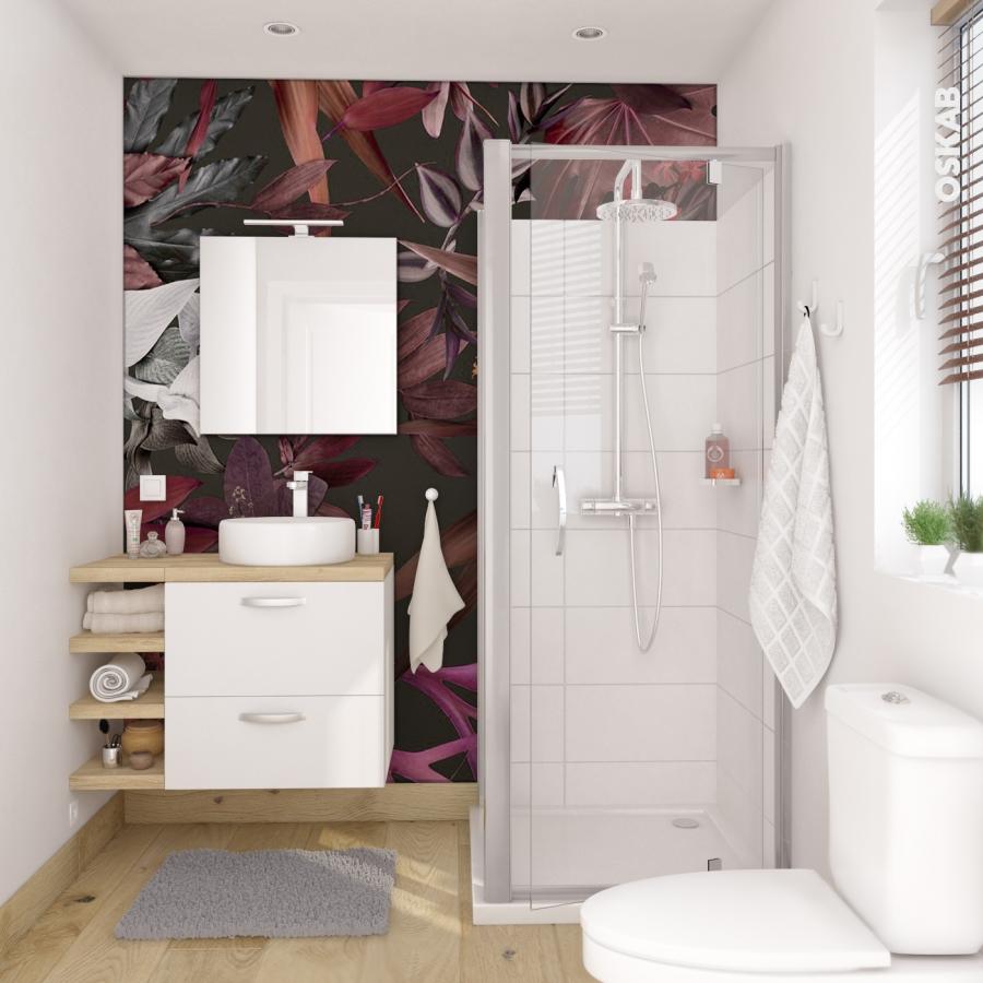 Meuble de salle de bains plan vasque naja ginko blanc 2 for Tres petite salle de douche