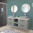 #Meuble de salle de bains - Plan vasque REZO - FAKTO Béton - 2 tiroirs - Côtés décors - L80,5 x H71,5 x P50,5 cm