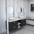 #Meuble de salle de bains - Plan vasque VALA - IKORO Chêne clair - 2 portes - Côtés blancs - L80,5 x H71,2 x P40,5 cm