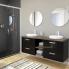 #Meuble de salle de bains - Plan double vasque EGEE - KERIA Noir - 4 tiroirs - Côtés décors - L120,5 x H71,2 x P40,5 cm