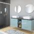 #Meuble de salle de bains - Plan vasque REZO - KERIA Bleu - 2 tiroirs - Côtés décors - L100,5 x H71,5 x P40,5 cm