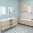 #Meuble de salle de bains - Plan double vasque VALA - IPOMA Chêne Naturel - 4 portes - Côtés décors - L120,5 x H71,2 x P40,5 cm