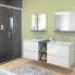 #Armoire de salle de bains - Rangement haut - IPOMA Blanc brillant - 2 portes miroir - Côtés décors - L60 x H70  xP27 cm