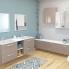 #Meuble de salle de bains - Plan double vasque REZO - KERIA Moka - 4 tiroirs - Côtés décors - L120,5 x H71,5 x P40,5 cm