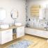 #Meuble de salle de bains - Plan double vasque REZO - IRIS Blanc - 4 tiroirs - Côtés décors - L120,5 x H58,5 x P40,5 cm