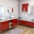 #Meuble de salle de bains - Sous vasque - STECIA Rouge - 2 tiroirs - Côtés décors - L100 x H70 x P50 cm