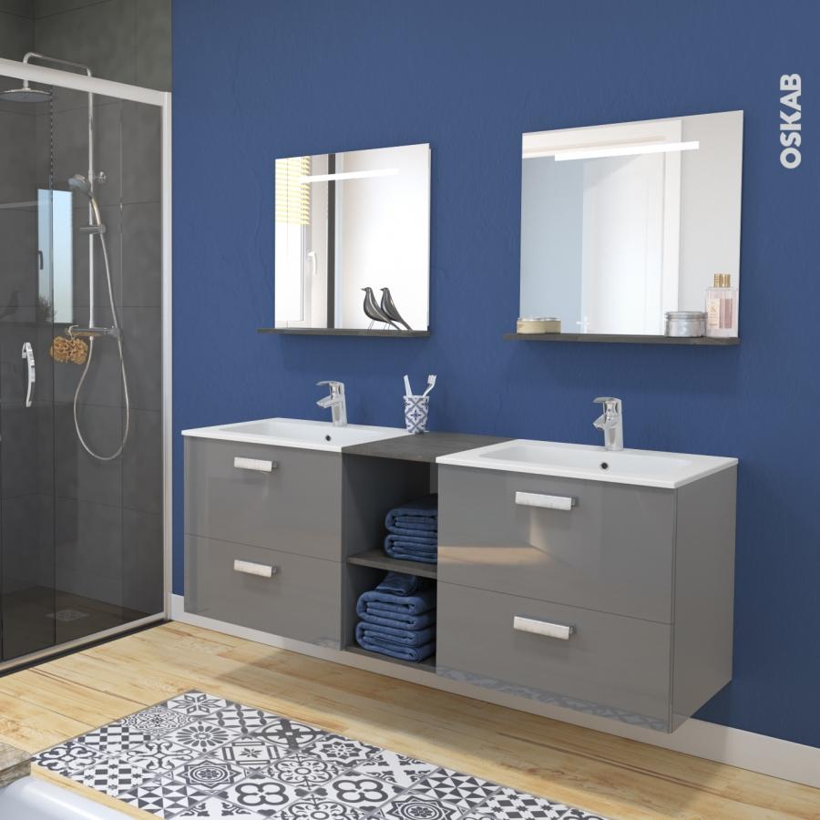 Colonne de salle de bains 2 portes stecia gris c t s for Colonne de salle de bain gris