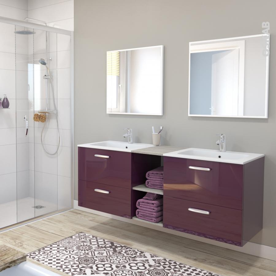 colonne de salle de bains 2 portes keria aubergine c t s. Black Bedroom Furniture Sets. Home Design Ideas