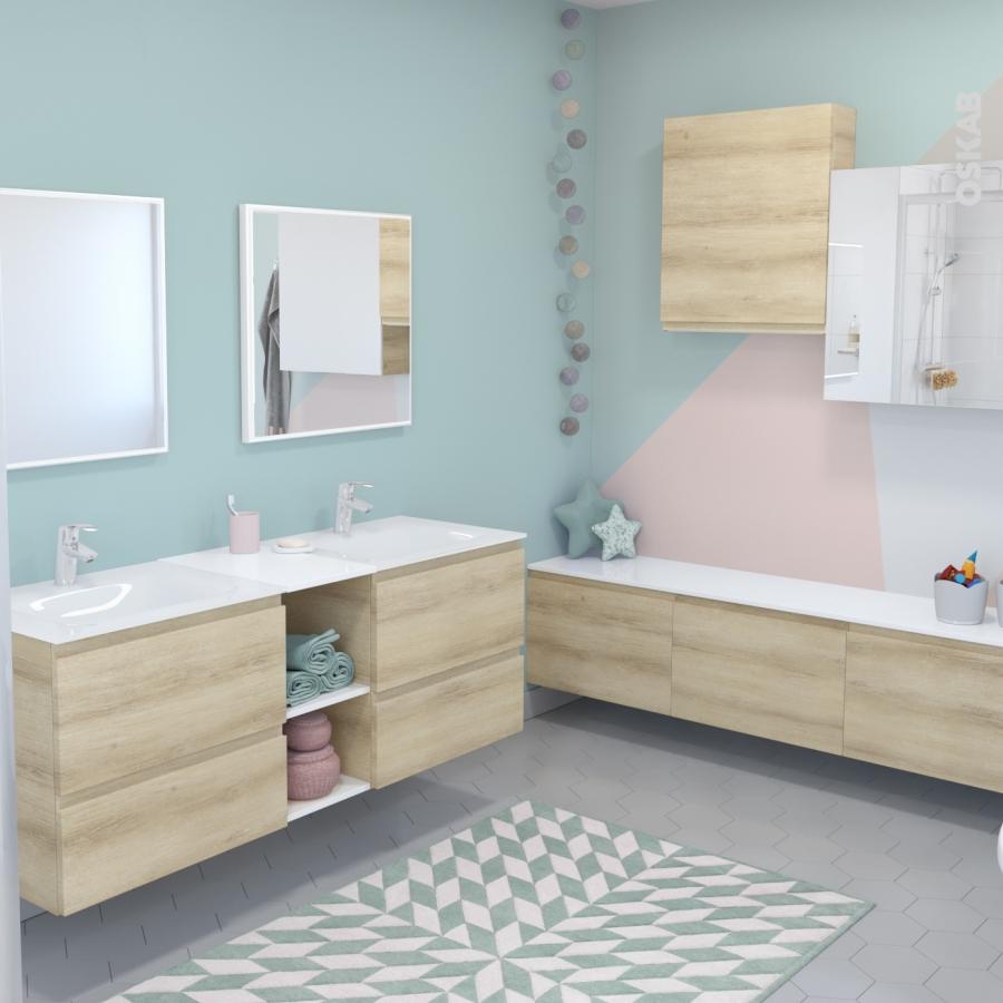 Meuble de salle de bains sous vasque ipoma ch ne naturel 2 for Meuble salle de bain naturel