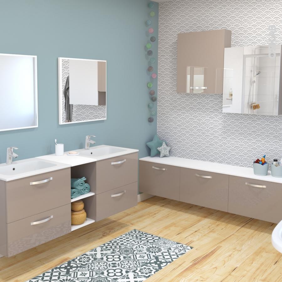Colonne de salle de bains 2 portes keria moka c t s blancs for Colonne salle de bain 4 portes