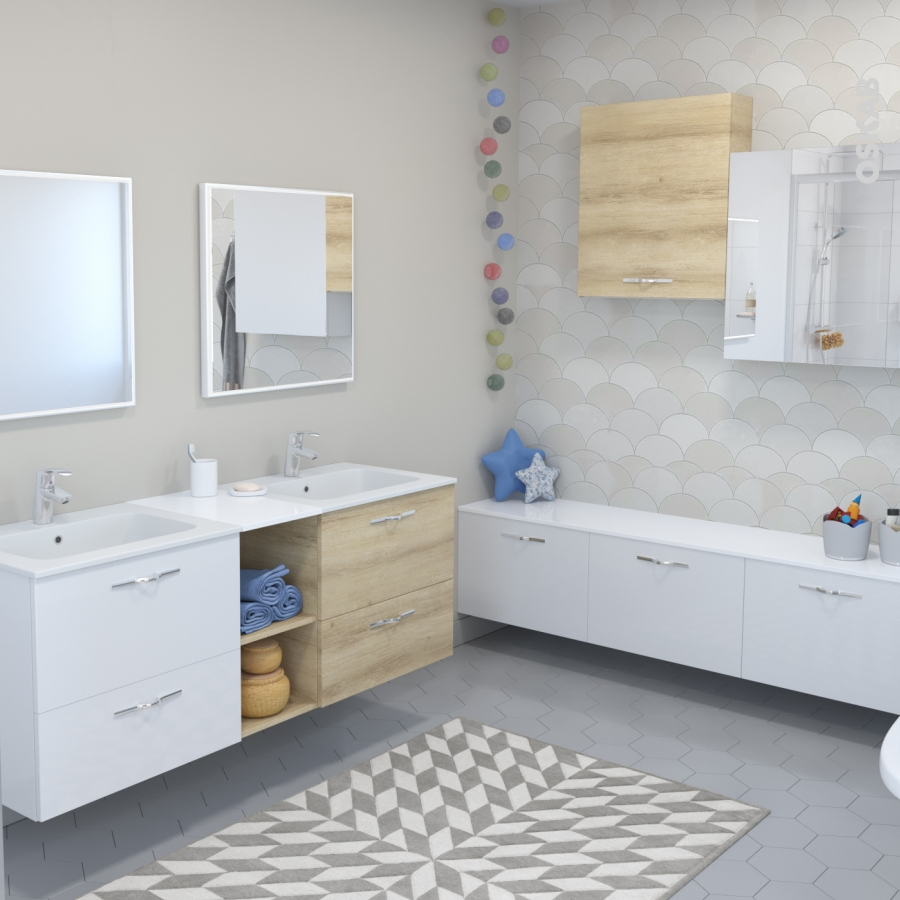 Meuble de salle de bains plan vasque vala hosta ch ne for Meuble salle de bain naturel