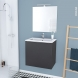 GINKO Gris - Meuble salle de bains N°162 - Vasque REZO - 1 porte Prof.40 - L60,5xH58,5xP40,5