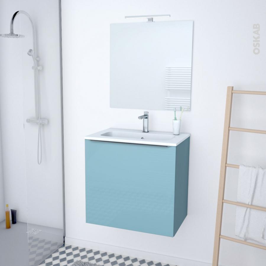 Meuble de salle de bains plan vasque rezo keria bleu 1 - Meuble de salle de bain bleu ...