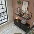 #Meuble de salle de bains - Sous vasque - AVARA Frêne Noir - 1 porte - Côtés décors - L60 x H57 x P40 cm