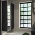 #Colonne de salle de bains - 2 portes - AVARA Frêne Noir - Côtés décors - Version A - L40 x H182 x P40 cm