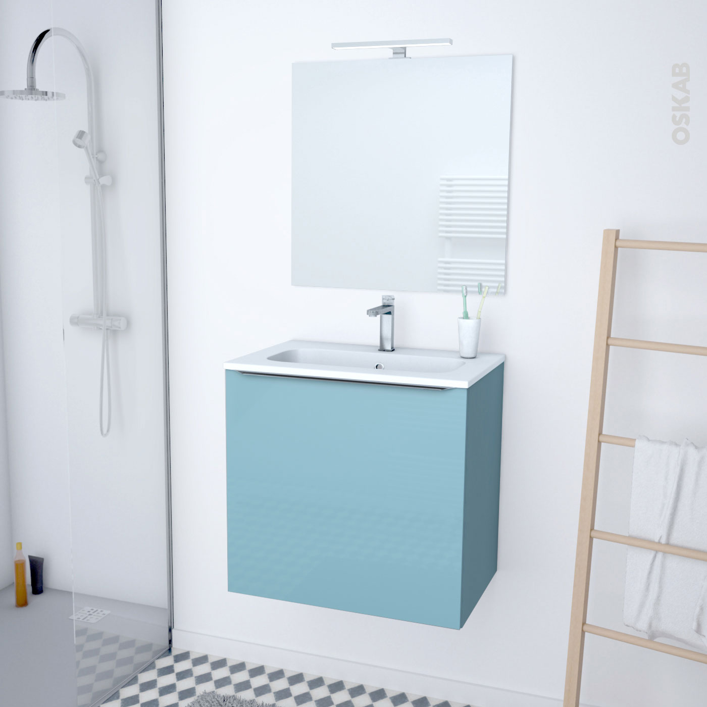 Meuble de salle de bains Plan vasque REZO KERIA Bleu 1 porte Côtés décors  L60,5 x H58,5 x P40,5 cm - Oskab