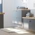 #Meuble de salle de bains - Plan vasque REZO - HELIA Gris - 2 tiroirs - Côtés décors - L60,5 x H58,5 x P40,5 cm