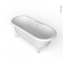 Baignoire - Îlot ovale rétro - Blanc - 170x75 cm - Acrylique renforcé - Pieds baignoire - Patte de lion - Blanc - INA
