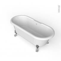 Baignoire - Îlot ovale rétro - Blanc - 170x75 cm - Acrylique renforcé - Pieds baignoire - Patte de lion - Chromé - INA