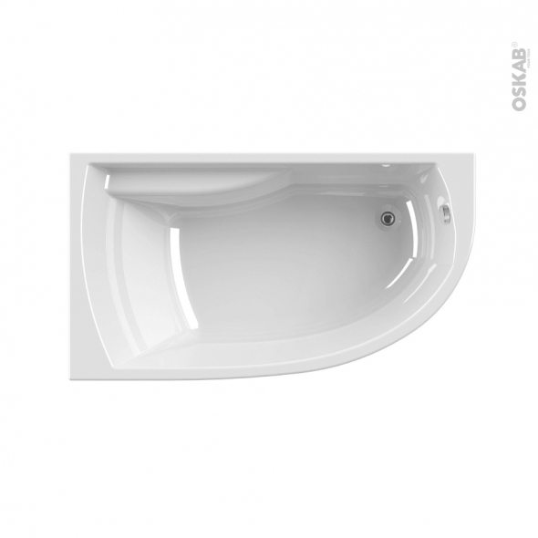 Baignoire - Asymétrique droite - 160x90 cm - Acrylam - DIVA - ALLIBERT