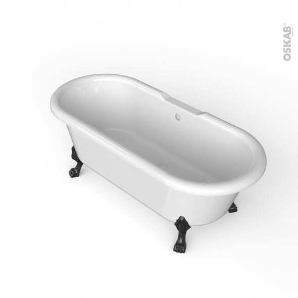 Baignoire - Îlot ovale rétro - Blanc - 170x75 cm - Acrylique renforcé - Pieds baignoire - Patte de lion - Noir - INA