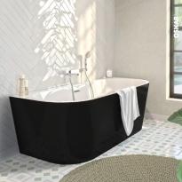 Baignoire - Îlot murale ovale - Noir et blanc - 170x75 cm - Acrylique renforcé - ZEEN