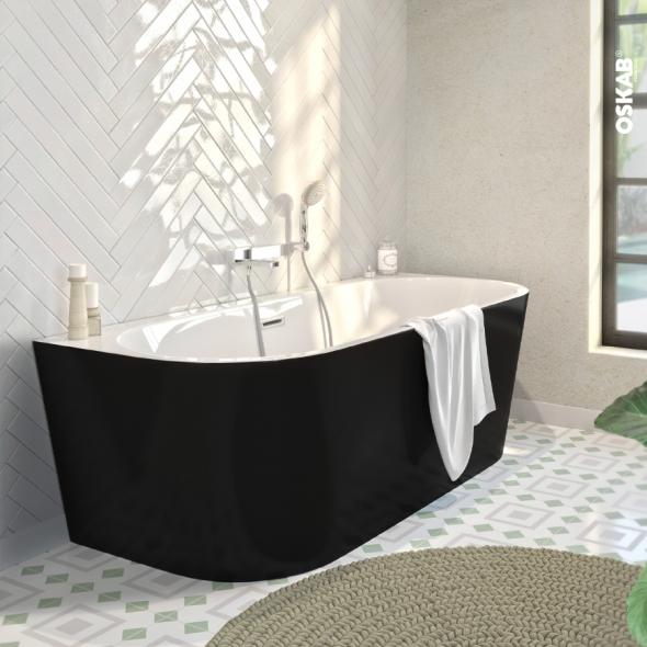 Baignoire Ilot Murale Ovale Noir Et Blanc 170x75 Cm Acrylique Renforce Zeen Oskab