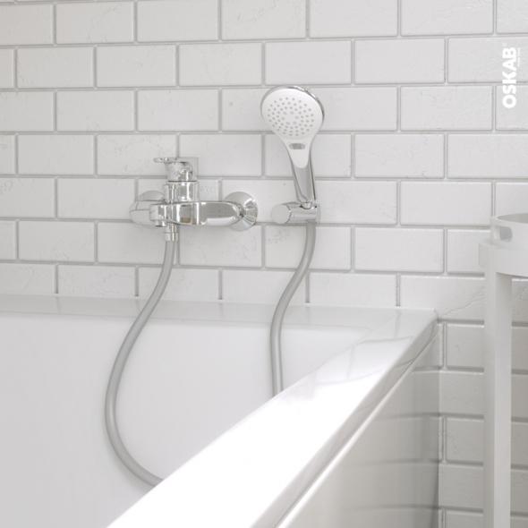 Pack douchette - INOR - Flexible et support - Diamètre 102 - Blanc et  chromé