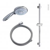 Pack douchette - KELO - Flexible et barre de douche - Diamètre 100 - Chromé