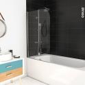 Pare baignoire pivotant - 1 volet - SAMBA - 75 cm - Verre transparent - Profilés chromés