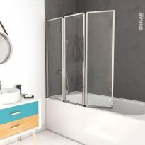 Pare baignoire pliant - 3 volets - VIMA - 125 cm - Verre transparent - Profilés chromés