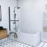 #Pare baignoire pivotant - 1 volet - OPAL - 85 cm - Verre transparent - Profilés noirs