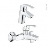 Pack robinetterie - EUROSMART - Mitigeur lavabo bec bas et mitigeur bain - Chromé - GROHE