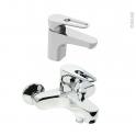 Pack robinetterie - OPAH - Mitigeur lavabo bec bas et mitigeur bain - Chromé