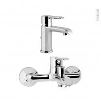 Pack robinetterie - LIMA - Mitigeur lavabo bec bas et mitigeur bain - Chromé