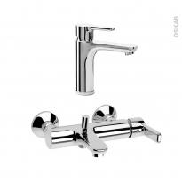 Pack robinetterie - ODCHU - Mitigeur lavabo bec moyen et mitigeur bain - Chromé